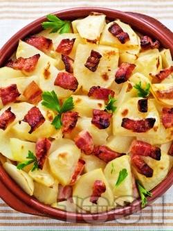Запечени картофи със сирене, шунка и масло на фурна - снимка на рецептата